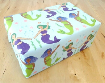 Mermaid Wrapping Paper Sheets - Friendly Mermaids gift wrap, under the sea, sea life