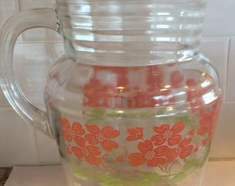Vintage Glass Pitcher with Pink Green White Flowers 2 Qt