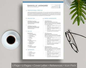 Simple Resume Template + Icon Pack + Cover Letter Template + References,  Clean Resume Design