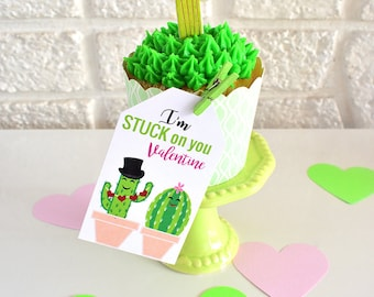 Valentine's Day Cactus Party Favor Tags Instant Download