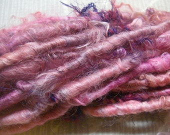 Handspun Corespun Super Bulky Leicester Longwool Art Yarn in Bright Pinks with Purple by KnoxFarmFiber for Knit Weave Embellishment