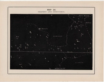 1891 SERPENT constellation print - original antique astronomy lithograph - celestial star map - star chart of the sky - stars print