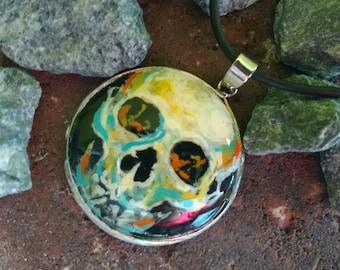 Skull  hand painted Pendant Dark Onyx Necklace Day Of The Dead Dia de los Muertos Mexican Art