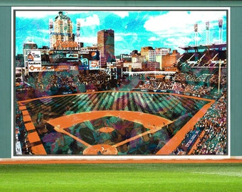 Cleveland Indians Baseball Stadium Art, Original Painting by Artist Rick Brown, Cleveland Indians Stadium Digital Abstract Artwork, Poster