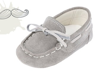 Baby moccasins Crib boy shoes Leather baby shoes Baby boy shoes Unique newborn gift ideas Baby shoes Boy grey shoes 1 2 3 4 US EU 17066075B
