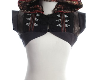 Ethnic Boho Hippie Artisan Beaded Fabric Vest Hoodie Hood