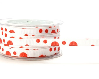 """3/8"""" Grosgrain Bubble Dot Christmas Ribbon in Red & White . 5 or 50 yards"""