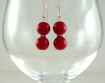 Bright Red Earrings Red Czech Glass Earrings Red Drop Earrings Red Silver Earrings Bright Red Bead Earrings Red Glass Bead Earrings