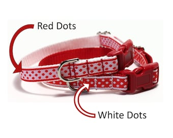 """Red and White Dot - Thin Dog Collar - 1/2"""" (13mm) Wide - Martingale or Side Release Buckle - Choice of collar style, color and size"""