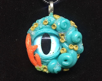 Turquoise and Gold Tentacle Creature Pendant