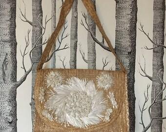 Vintage Straw Purse with Raffia Flower Design Souvenir Bag