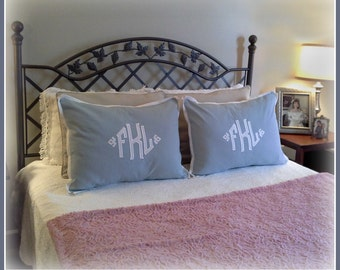 The South Pointe Applique Monogrammed Pillow Shams - SET OF 2 - Standard 20 x 26