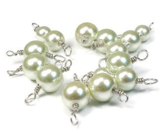 Stitch Markers - Light Green Glass Pearls Set of 10