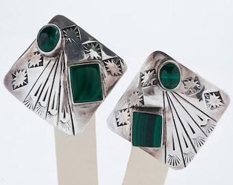 Vintage Earrings - Vintage Carved Sterling Silver Malachite Earrings