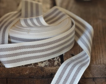 brown and cream ticking striped ribbon