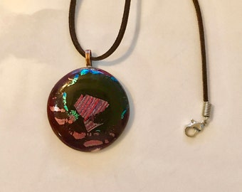 Pretty fused glass necklace with dichroic glass