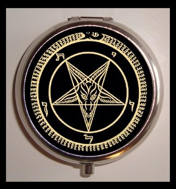 Satanic Pentagram Pill Box Pillbox Case Holder Satanist Church