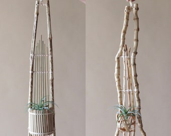 Bamboo Wall Hanging Air Plant Planters, Beige