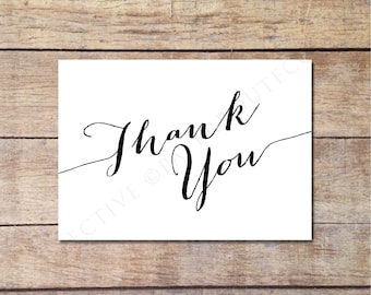 Simple Thank You Card, Black and White Wedding, Wedding Thank You Card, Elegant Design, Printable Thank You Note, Instant Download