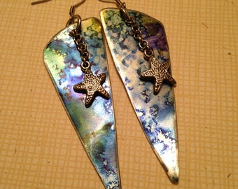 Blue and green ink on lightweight aluminum charms 3 inch dangle earrings