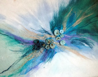 Felted Fiber Picture Fantasy Abstraction  Turquoise expression- Holiday Decor Wall Decor