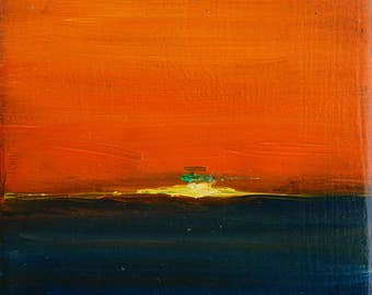 "GreenFlash Sunset miniature oil painting original, 4x4"""