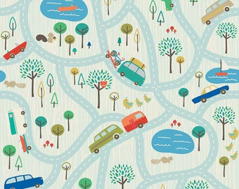 END of BOLT ~~ 33in ~~ SALE Scenic Route Map Blue Riley Blake Fabrics Modern Boy Yardage Deena Rutter Cars Trucks Bikes Vehicles C3660 Blue