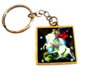 "Keychain ""Archangel St Michael"" with cabochon glass - bronze - pc-B-015"
