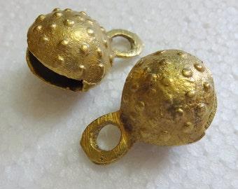 Indian Brass Bell, Metal Bells, Gypsy Bells - set of 2  Ethnic  Brass Bells Textured / Dots