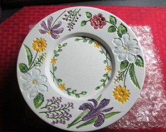 Wildflowers Jar trays  , Candle holder trays  Lot of 4  Beautiful   Colorful Spring Flowers  Ceramic