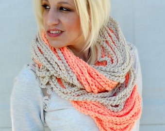Peaches and cream crochet cowl, womens scarf, crochet scarf, winter scarf, chunky cowl, loop infinity scarf, chain necklace, winter fashion