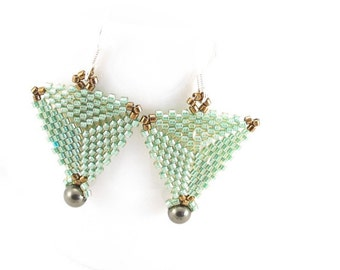 Earrings-green delica bead-triangles-dark green glass pearl dangles-surgical steel wires-gold delica bead corners-lightweight