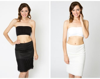 SALE Ruffle Slip Combo Pack - Black and Ivory