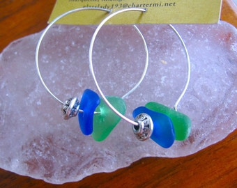 Wonderful GREEN and COBALT Lake Superior Beach Glass Hoop Earrings