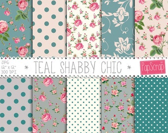 """Floral digital paper : """"Teal Shabby Chic"""" shabby chic digital paper with pink roses on teal background, floral digital backgrounds"""