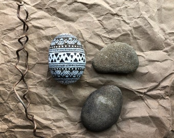 Small hand painted rock--egg shaped, Easter decor