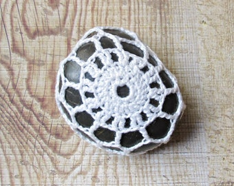 SALE Crochet Lace Stone Paperweight Ornament - Wedding Table Rock Cozy Pattern Weight Sewing White Doily - Decoration Homewares Decor Gift