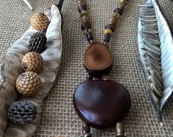 Handmade bohemian necklace made of natural material