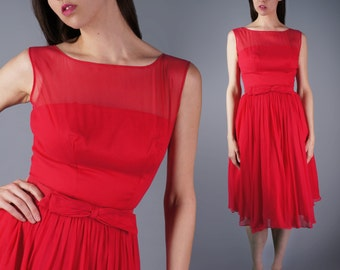 60s Hot Pink Emma Domb Dress Chiffon Illusion Bombshell Dress Vintage Cupcake Prom Gown Size Medium 36 Bust