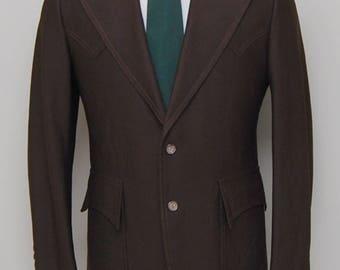 1970s men's brown western blazer/ 60s men's western blazer / Mount West
