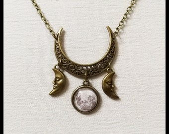 Triple moon necklace, triple goddess pendant, wiccan jewelry, witch necklace, witchcraft jewelry, pagan jewelry, bronze half moon, witchy