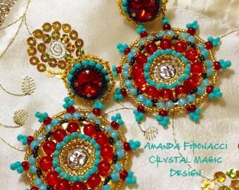 Mayan Sun medallion designer earrings