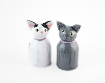 ADD ON 2 Cat miniatures - Add 2 Cats to your Custom Topper - cat lovers cake topper - cat wedding