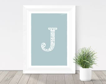 Pale duck egg blue initial print, floral letter, monogram, blue green letter wall art, rustic home decor, silhouette print