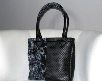 Handbag faux leather fabric/Black wool blue/black/white