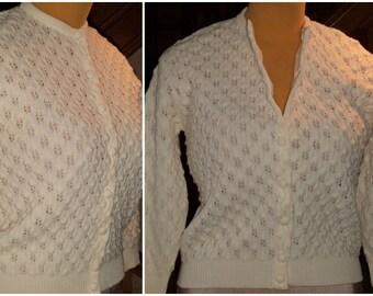 50's ALICE KAYE Wool P0PCORN Patterned KNIT Sweater Cardigan Cream M/L Darlin Mint