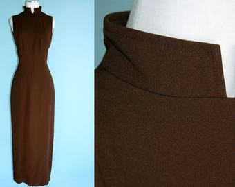 1990s Chocolate Brown Dress // 90s Rich Brown Long Dress with Mandarin Collar