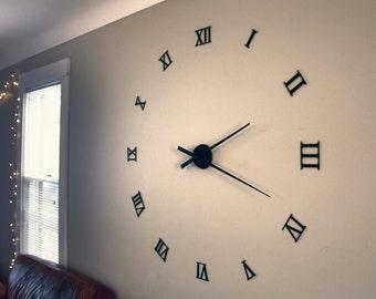 "Huge Modern Wall Clock, Roman Numerals, 48"""