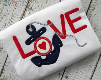 LOVE ANCHOR machine embroidery design
