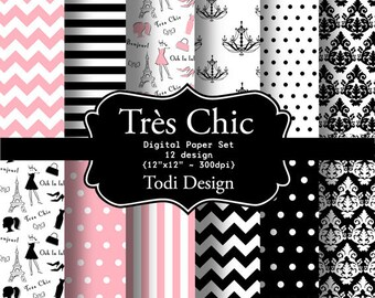 Très Chic-INSTANT DOWNLOAD Digital Paper Set